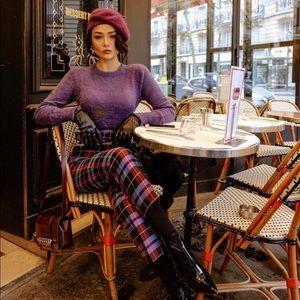 Zara belted plaid pants sz large blue purple